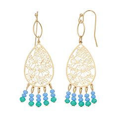 LC Lauren Conrad Tropical Paradise Beaded Tear Drop Earrings