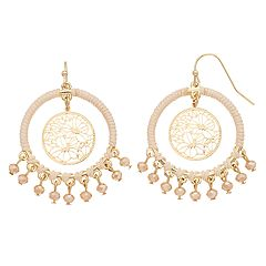 LC Lauren Conrad Ivory Cord Wrapped Hoop Drop Earrings