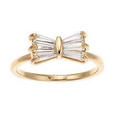 LC Lauren Conrad Cubic Zirconia Bow Midi Ring