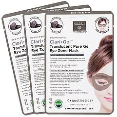 Earth Therapeutics 3-Pack Clari Gel Translucent Pure Gel Eye Zone Masks - Charcoal
