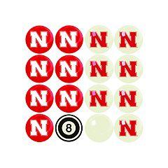 Nebraska Cornhuskers Home VS Away Billiard Ball Set