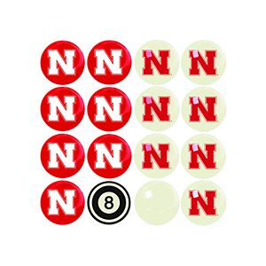 Nebraska Cornhuskers Home VS Away Billiard Ball Set