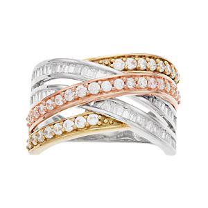 Tri-Tone 10k Gold 1 Carat T.W. Diamond Crisscross Ring