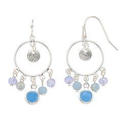 LC Lauren Conrad Blue Bead Nickel Free Hoop Drop Earrings