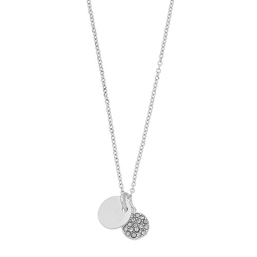 LC Lauren Conrad Simulated Crystal Disc Pendant Necklace