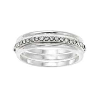 LC Lauren Conrad Simulated Crystal Midi Ring Set
