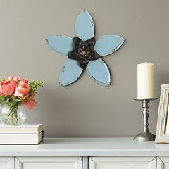 Stratton Home Decor Rustic Blue Flower Wall Decor
