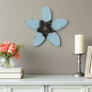 Stratton Home Decor Rustic Blue Flower Wall Decor