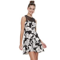 Juniors' Three Pink Hearts Floral Illusion Puff Scuba Skater Dress