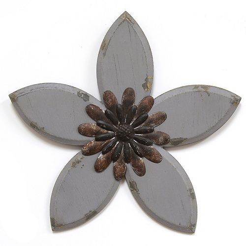 Stratton Home Decor Rustic Gray Flower Wall Decor