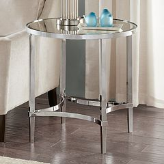 Madison Park Signature Triton Chrome Finish End Table