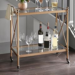 Madison Park Signature Bronze Finish Glass Bar Cart