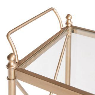 Madison Park Signature Bronze Finish Glass Bar Cart