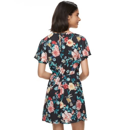 Juniors' Trixxi Floral Print Skater Dress