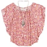Girls 7-16 Speechless Floral Print Angel Sleeve Tunic with Necklace