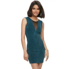 Juniors' Trixxi Illusion Glitter Knit Bodycon Dress
