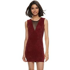 Juniors' Trixxi Illusion Glitter Knit Bodycon Dress