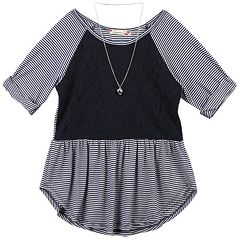 Girls 7-16 & Plus Size Speechless Lace Striped Tunic with Necklace