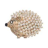 Napier Simulated Pearl Hedgehog Pin