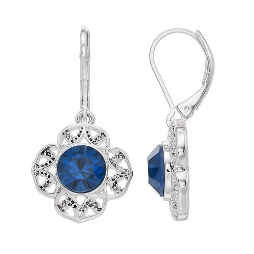 Napier Silver Plated Glass Stone Drop Earrings