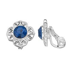 Napier Silver Plated Glass Stone Clip-On Earrings