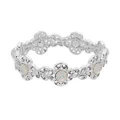 Napier Silver Glass Stretch Bracelet