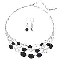 Napier Triple Strand Necklace & Drop Earrings Set