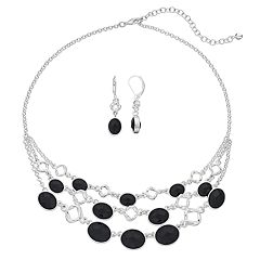 Napier Triple Strand Necklace & Drop Earrings Set