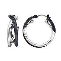 Napier Silver Crossover Hoop Earring