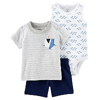 Baby Boy Carter's Striped Tee, Print Bodysuit & Solid Shorts Set