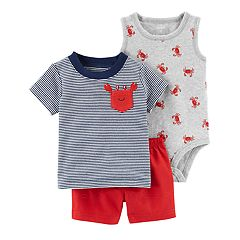 Baby Boy Carter's Striped Tee, Print Bodysuit & Solid Shorts Set