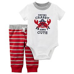 Baby Boy Carter's Embroidered Bodysuit & Striped Pants Set