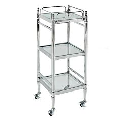 Linon Pinnacle Chrome Finish Bathroom Cart
