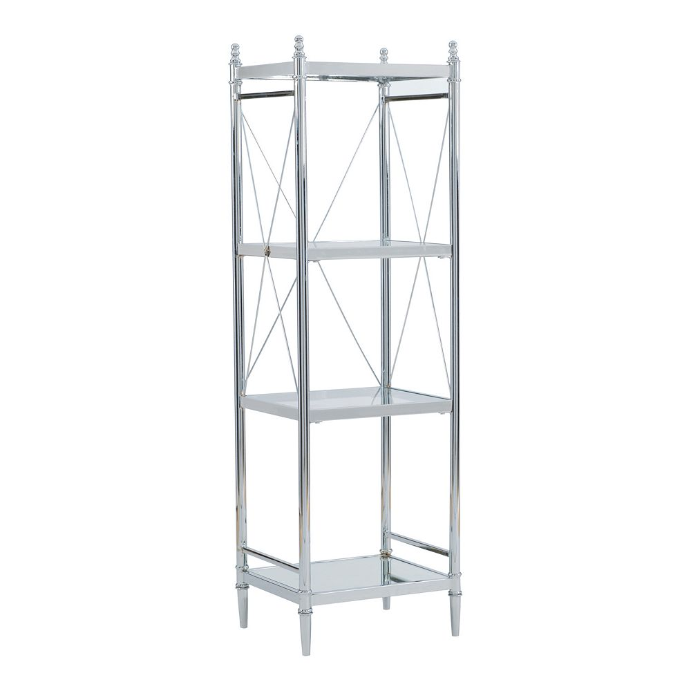 Linon Pinnacle Chrome Finish 4-Tier Storage Shelf