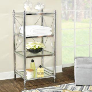 Linon Pinnacle Chrome Finish 4-Tier Storage Shelf