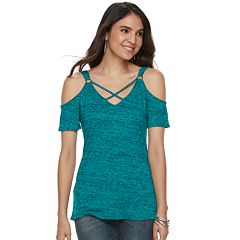 Women's Rock & Republic® Strappy Cold-Shoulder Top