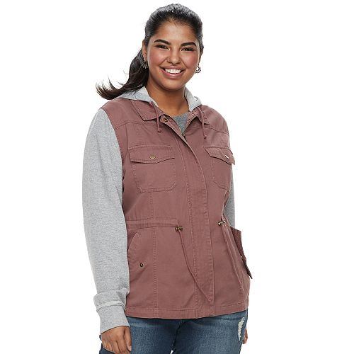 Juniors' Plus Mudd® Knit Sleeve Utility Jacket