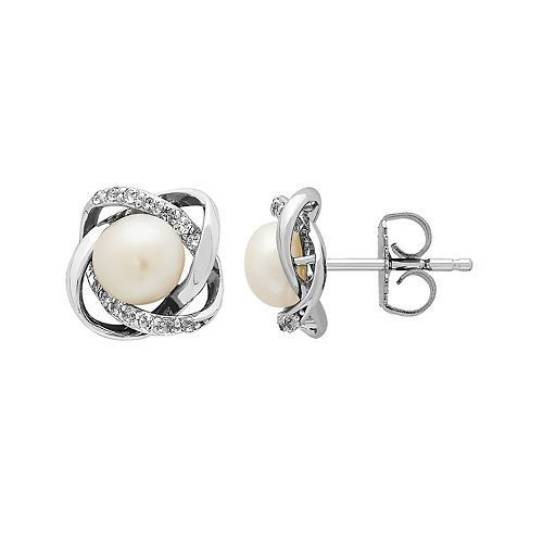 Honora Sterling Silver Freshwater Cultured Pearl & White Topaz Stud Earrings