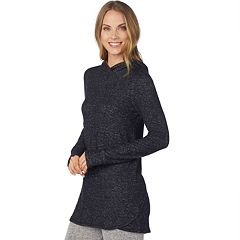 Women's Cuddl Duds Soft Knit Long Sleeve Tunic Hoodie