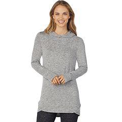 Women's Cuddl Duds Soft Knit Long Sleeve Tunic Hoodie