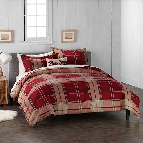 Cuddl Duds Home Red Plaid 4 Piece Flannel Comforter Set