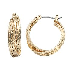 Napier Small Gold Tone Layered Double Hoop Earring