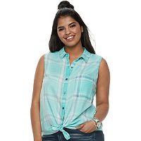 Juniors' Plus SO® Sleeveless Tie-Front Shirt