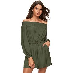 Women's Jennifer Lopez Satin Off-the-Shoulder Romper