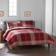 Cuddl Duds Home Red Plaid Duvet Cover Set
