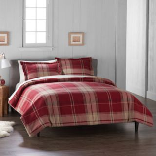 Cuddl Duds Home Red Plaid Duvet Cover Set