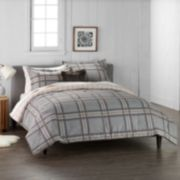 Cuddl Duds Home Gray Plaid 4-piece Flannel Comforter Set