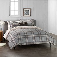 Cuddl Duds Home Gray Plaid 4-piece Flannel Comforter Set Deals
