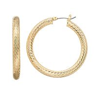 Napier Medium Textured Click It Hoop Earring