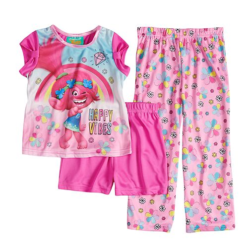 "Toddler Girl DreamWorks Trolls Poppy ""Happy Vibes"" Top, Shorts & Pants Pajama Set"